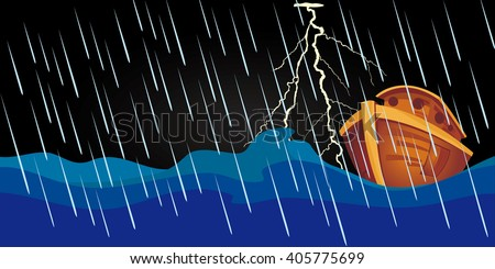 Noah's ark in the rain storm during the night