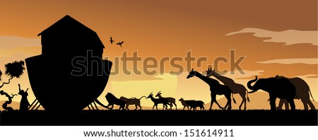 Noah's Ark with animals entering at sunset - stock vector