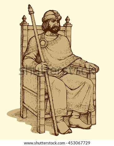 Noble great wise bearded aged Knyaz of Kievan Rus sit on luxury ornate wooden gilded seat with regal rod in hand and hat. Freehand outline ink drawn background sketch in art retro engraving style - stock vector