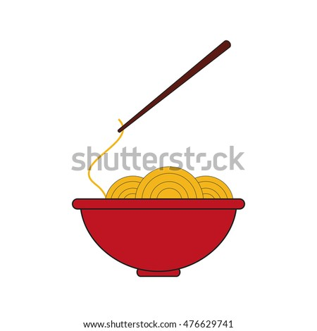 noodle bowl fast food menu restaurant lunch icon. Flat and isolated design. Vector illustration
