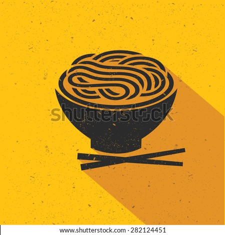 Noodle icon design on yellow background,flat design,clean vector - stock vector