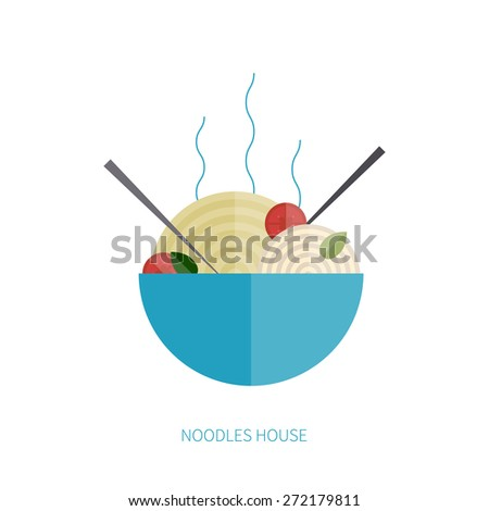 noodles pasta logo for the restaurant, vector concept - stock vector