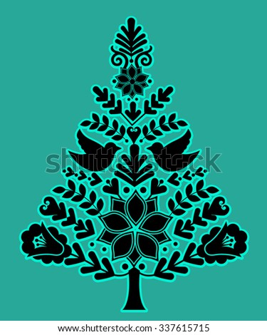 Nordic christmas tree separate elements grouped  - stock vector