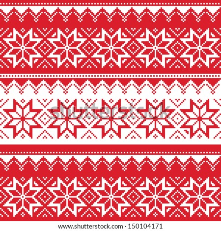 Nordic seamless christmas red pattern - stock vector