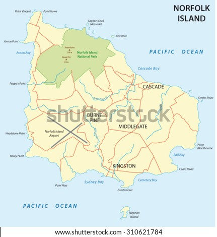 Norfolk Island Map Stock Vector 310621784 Shutterstock