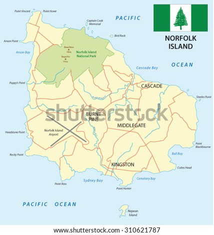 Norfolk Island Map Flag Stock Photo Photo Vector Illustration