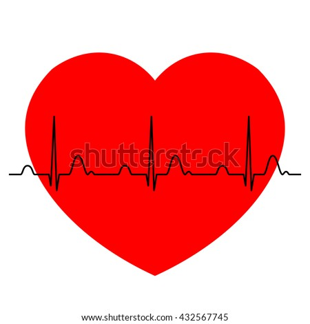Normal ECG (Electrocardiogram) with red heart background, heart rhythm ekg with red heart background, vector Illustration - stock vector