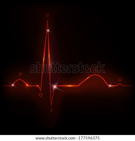 Normal heart cardiogram illustration, bright red color - stock vector