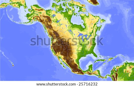 North America and Central America. Physical vector map, colored according to elevation. Surrounding territory greyed out. 24 named layers, fully editable. Data source: NASA - stock vector