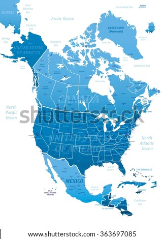 North America Blue Map-Vector Illustration - stock vector