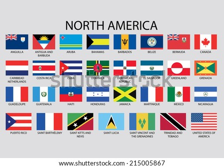 North America Continent Flag Pack Stock Vector - north flags