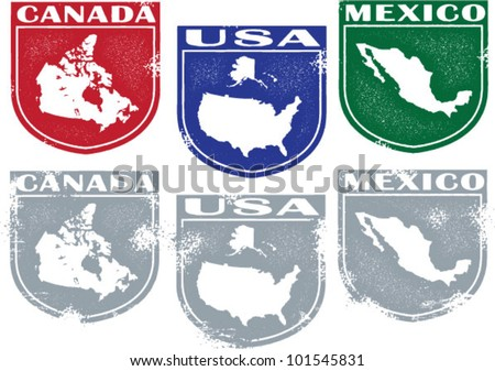 North America Country Stamps USA Canada and Mexico - stock vector