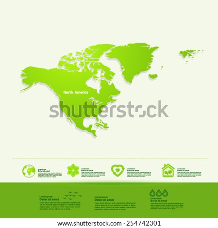 North America ecology World Map vector illustration - stock vector