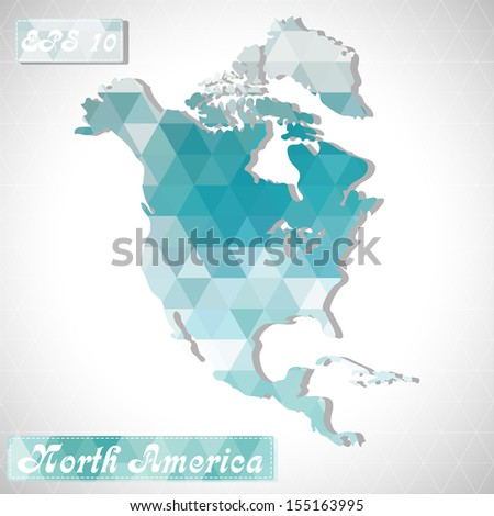 North America. EPS10 file version. This illustration contains transparency and is layered for easy manipulation and custom coloring. - stock vector