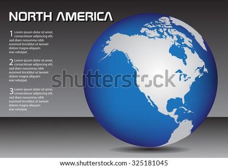North America globe. Earth globe vector. - stock vector
