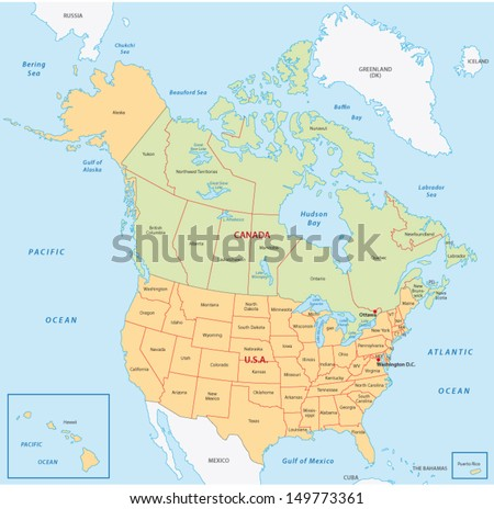 north america map - stock vector