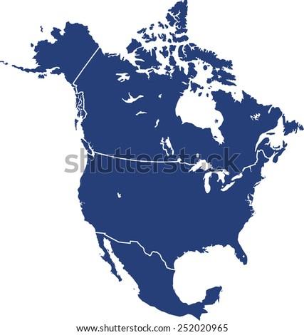north america map - stock vector