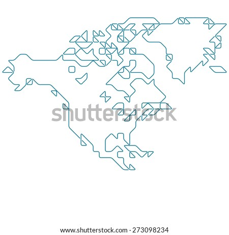 North America Map Drawn Thin Line Stock Vector - North america map drawing