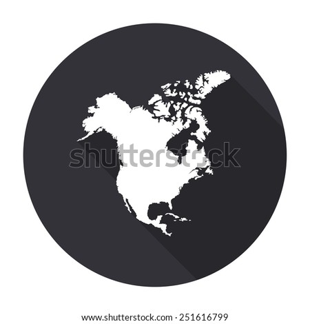 North America map icon with long shadow - vector round button - stock vector