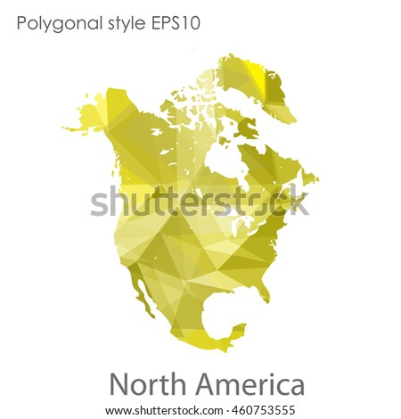North America map in geometric polygonal style.Abstract gems triangle,modern design background.Vector Illustration EPS10. - stock vector