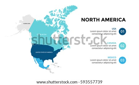 North America Map Infographic Slide Presentation Global Business Marketing Concept Color Country