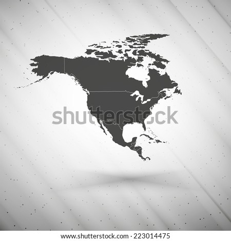North america map on gray background, grunge texture vector illustration. - stock vector