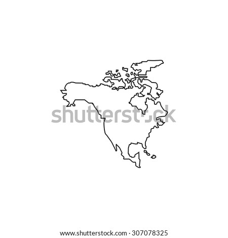 North America Map. Outline black simple vector pictogram - stock vector