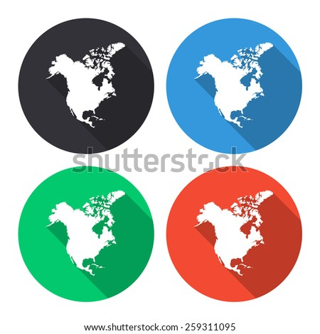 North america map icon colored illustration stock vector 245354107 north america map vector icon coloredgray blue green red sciox Choice Image