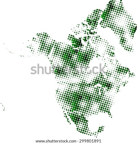 North America map vector in dots patterns with a green color gradient, North America map outlines in a contrasted dots background - stock vector