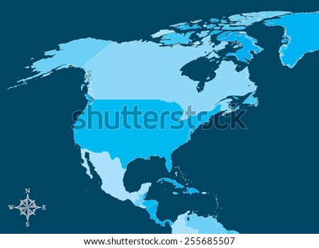 North america map vector map north stock vector 255685507 shutterstock north america map vector map of north america with north arrow gumiabroncs Gallery