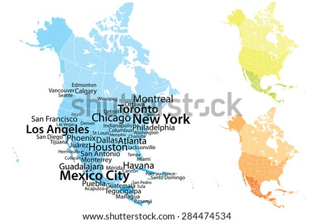North America Map Largest Cities Carefully Stock Vector 2018