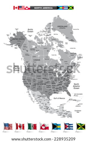 North America Map with national flags. Eps10 - stock vector