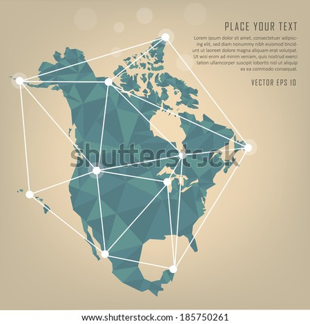 North America vector map - stock vector