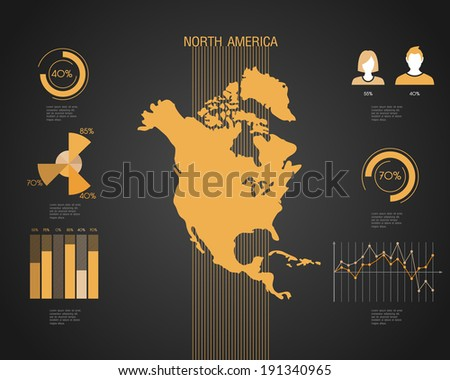 North America World map with different colored continents - Illustration - stock vector