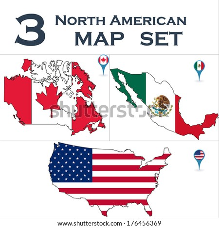 North American country set with map pointers  - stock vector