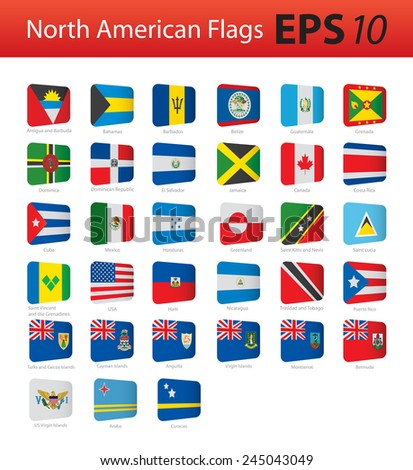 North American flags - stock vector