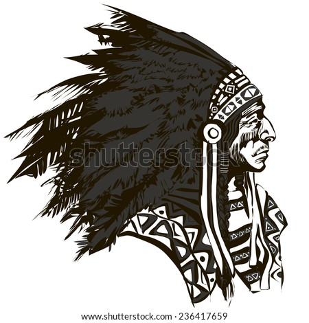 North American Indian chief - vector illustration - stock vector