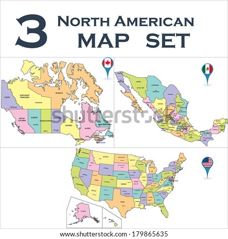 North American political map set with map pointers. - stock vector