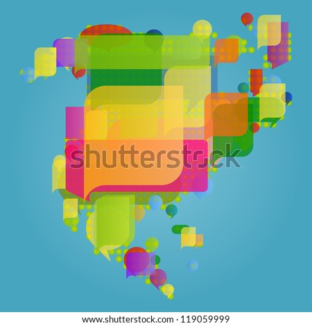 North and central America continent world map made of colorful speech bubbles concept illustration background vector - stock vector