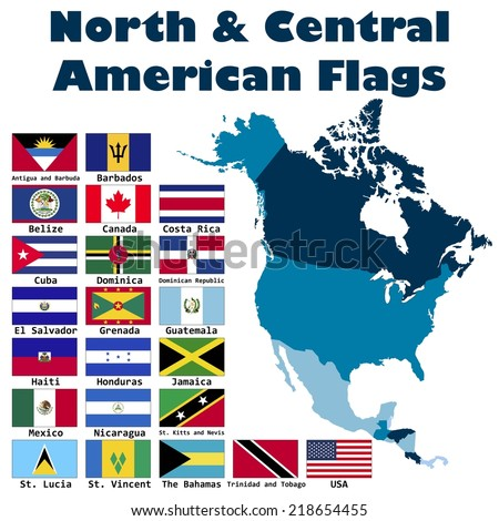 North and Central American flag set in alphabetical order, with an editable map. - stock vector