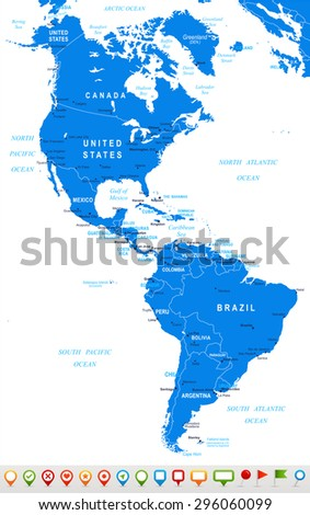 north and south america map and navigation icons ilration