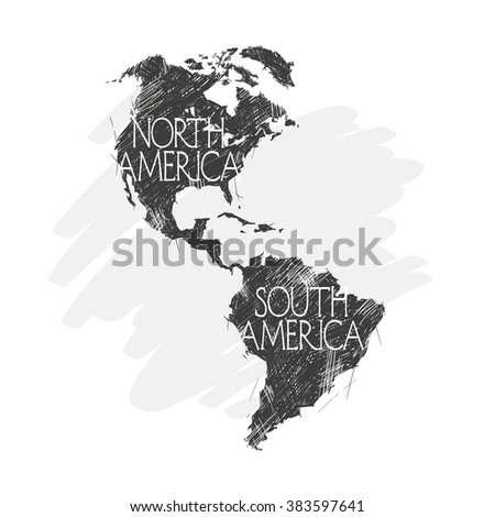 North and South America map background vector performed in vintage style. - stock vector