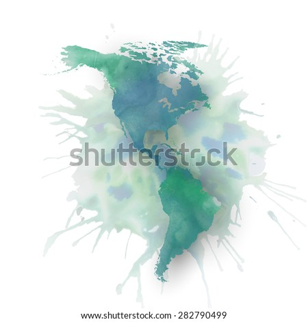 North and south America map element, abstract hand drawn watercolor background, great composition for your design, vector illustration. - stock vector