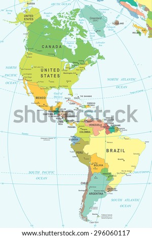 North South America Map Highly Detailed Stock Vector 296060117