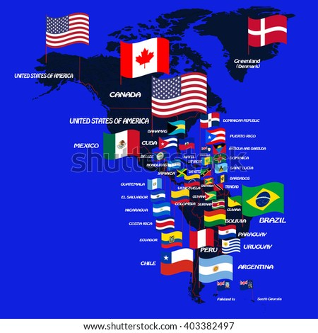 North South America Map Flags Country Stock Vector 403382497