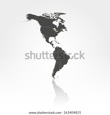 North and South America map with the shadow background vector - stock vector
