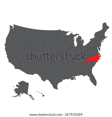 North Carolina red map on gray USA map vector - stock vector
