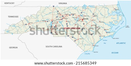 north carolina road map - stock vector