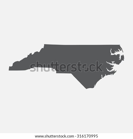 North Carolina state border map. - stock vector