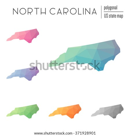 North Carolina state map in geometric polygonal style. Set of North Carolina state maps filled with abstract mosaic, modern design background. Multicolored state map in low poly style - stock vector